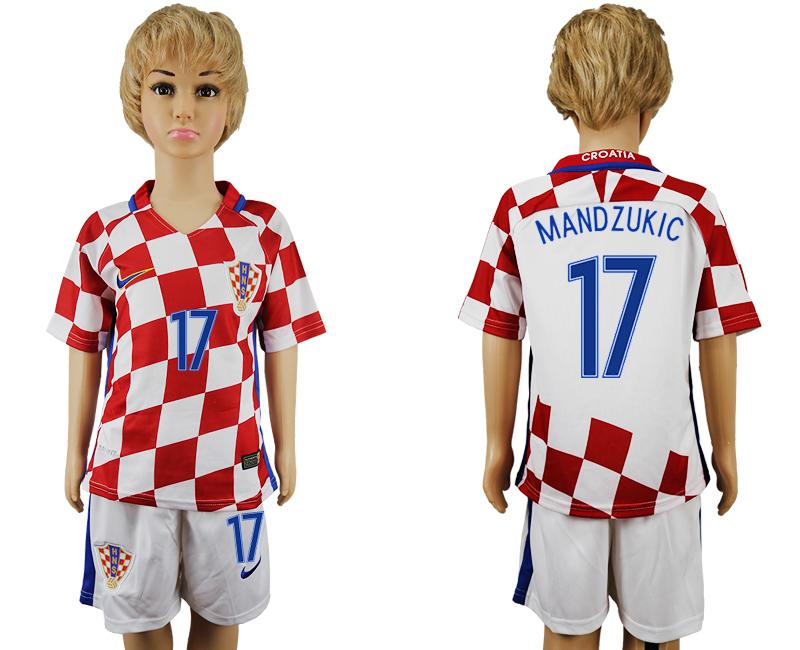 Croatia 17 MANDZUKIC Home Youth UEFA Euro 2016 Soccer Jersey