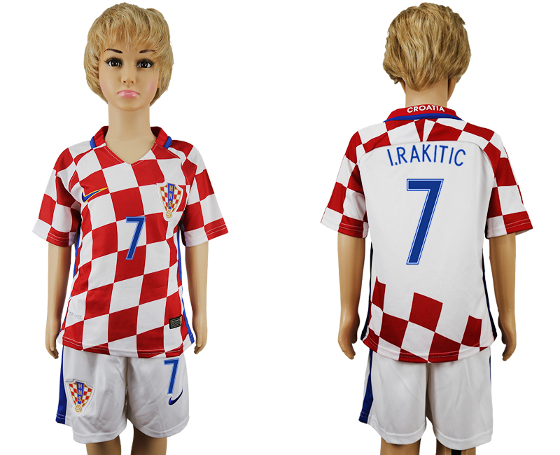 Croatia 7 I.RAKITIC Home Youth UEFA Euro 2016 Soccer Jersey