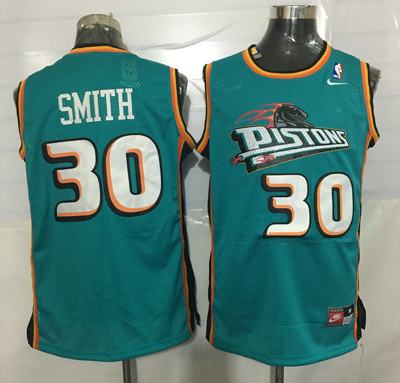 Pistons 30 Josh Smith Teal Nike Stitched Jersey