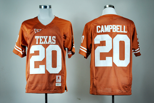 Texas Longhorns 20 Earl Campbell Orange College Jersey