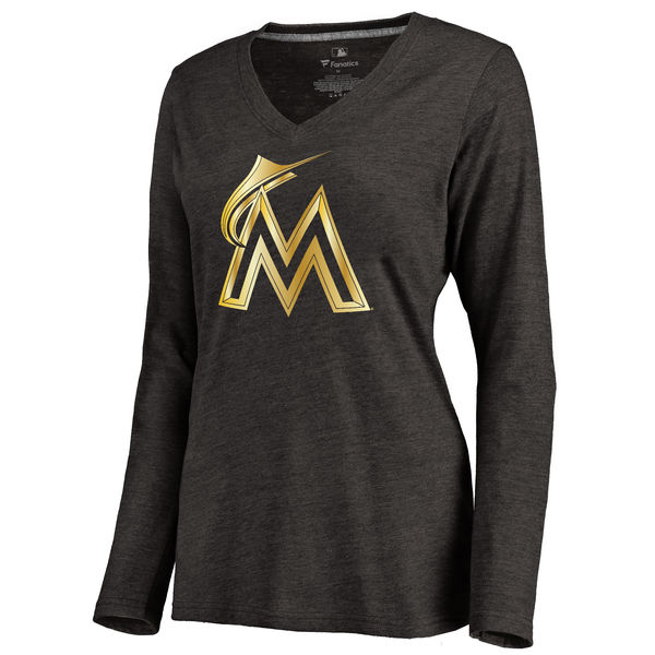 Miami Marlins Women's Gold Collection Long Sleeve V Neck Tri Blend T-Shirt Black