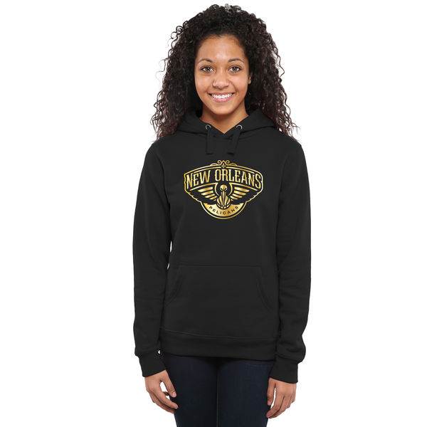 New Orleans Pelicans Women's Gold Collection Ladies Pullover Hoodie Black