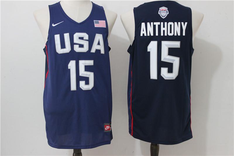 USA Basketball 15 Carmelo Anthony Royal Nike Rio Elite Stitched Jersey