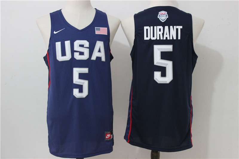 USA Basketball 5 Kevin Durant Royal Nike Rio Elite Stitched Jersey