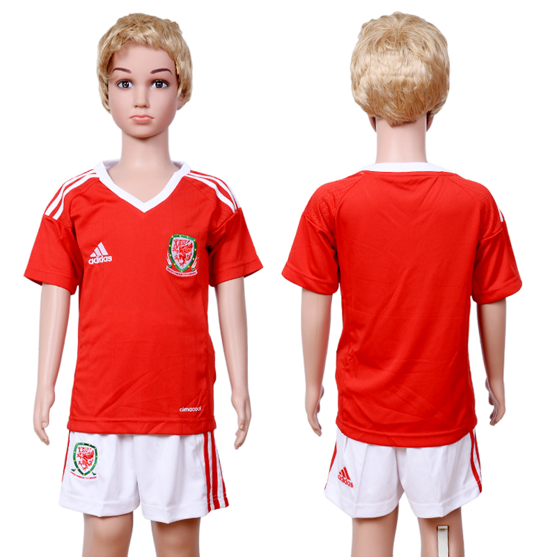 Welsh Home Youth UEFA Euro 2016 Soccer Jersey