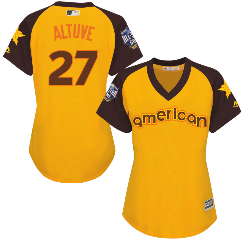 Astros 27 Jose Altuve Yellow Women 2016 All-Star Game Cool Base Batting Practice Player Jersey