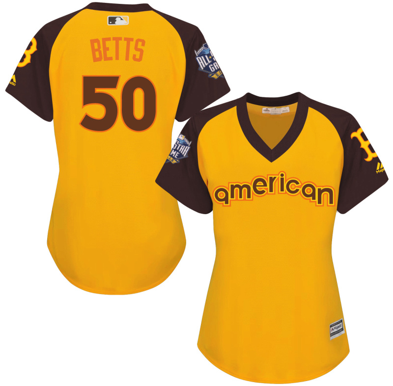 Red Sox 50 Betts Yellow Women 2016 All-Star Game Cool Base Batting Practice Player Jersey