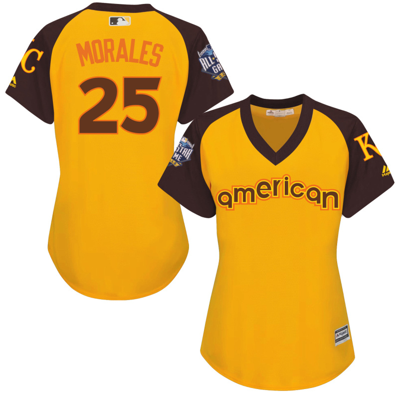Royals 25 Kendrys Morales Yellow Women 2016 All-Star Game Cool Base Batting Practice Player Jersey