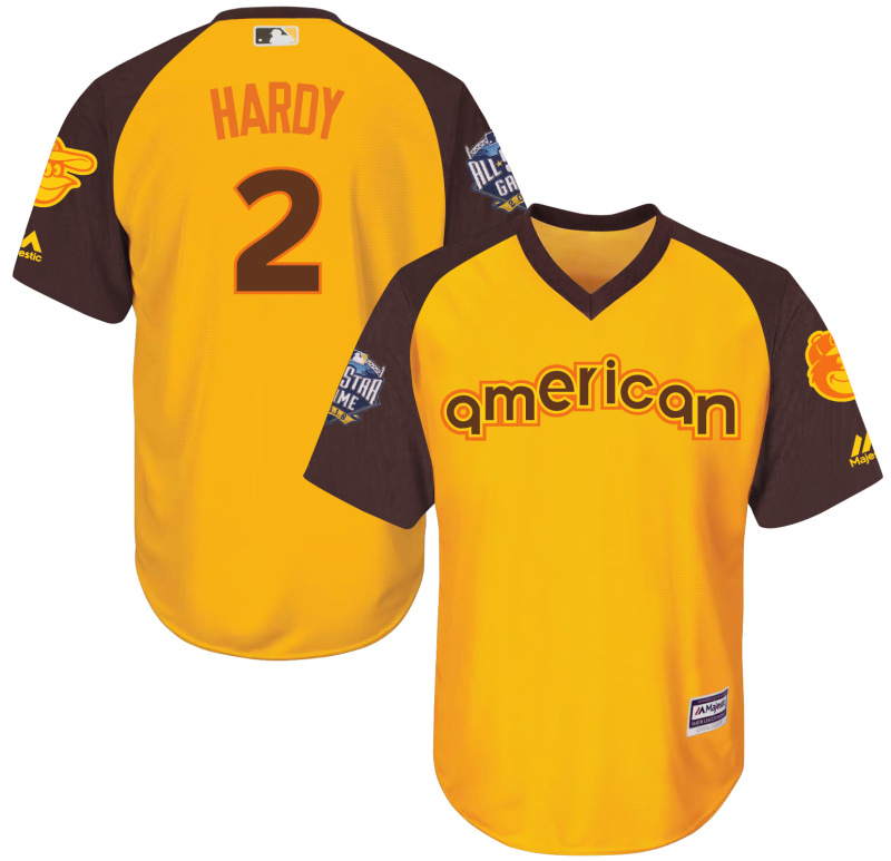 Orioles 2 J.J. Hardy Yellow Youth 2016 All-Star Game Cool Base Batting Practice Player Jersey