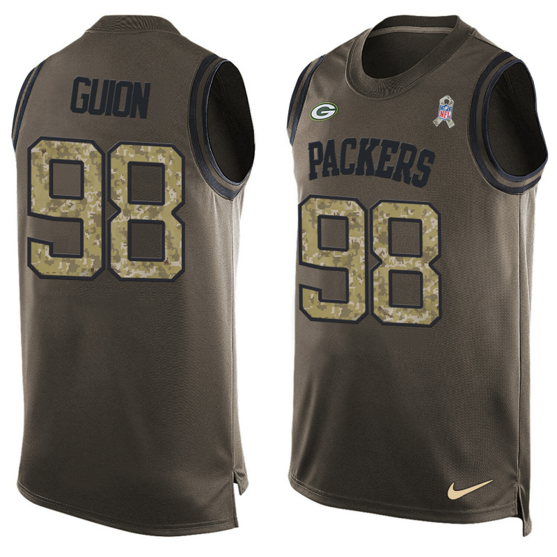 Nike Packers 98 Letroy Guion Olive Green Salute To Service Player Name & Number Tank Top