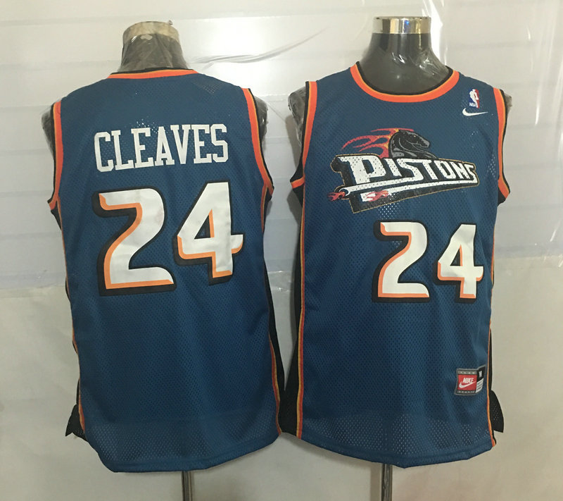 Pistons 24 Mateen Cleaves Blue Nike Stitched Jersey