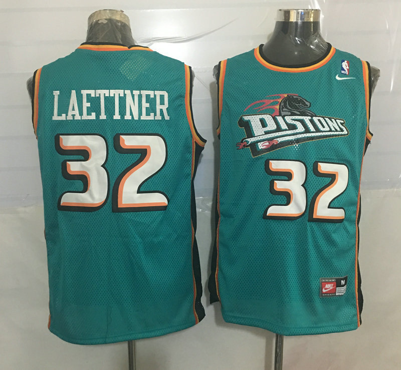 Pistons 32 Christian Laettner Teal Nike Stitched Jersey