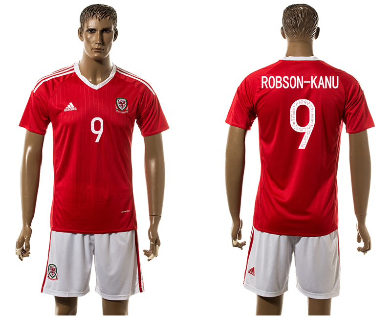 Welsh 9 ROBSON KANU Home UEFA Euro 2016 Soccer Jersey