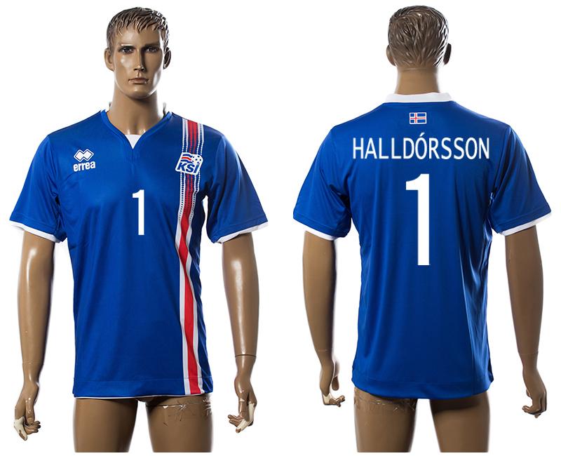 Iceland 1 HALLDORSSON Home UEFA Euro 2016 Thailand Jersey