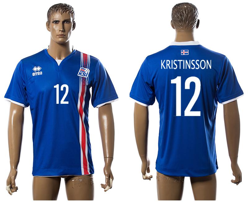 Iceland 12 KRISTINSSON Home UEFA Euro 2016 Thailand Jersey
