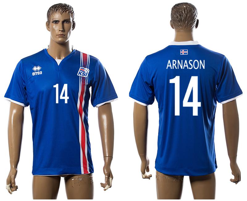 Iceland 14 ARNASON Home UEFA Euro 2016 Thailand Jersey