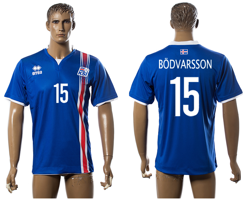 Iceland 15 BODVARSSON Home UEFA Euro 2016 Thailand Jersey