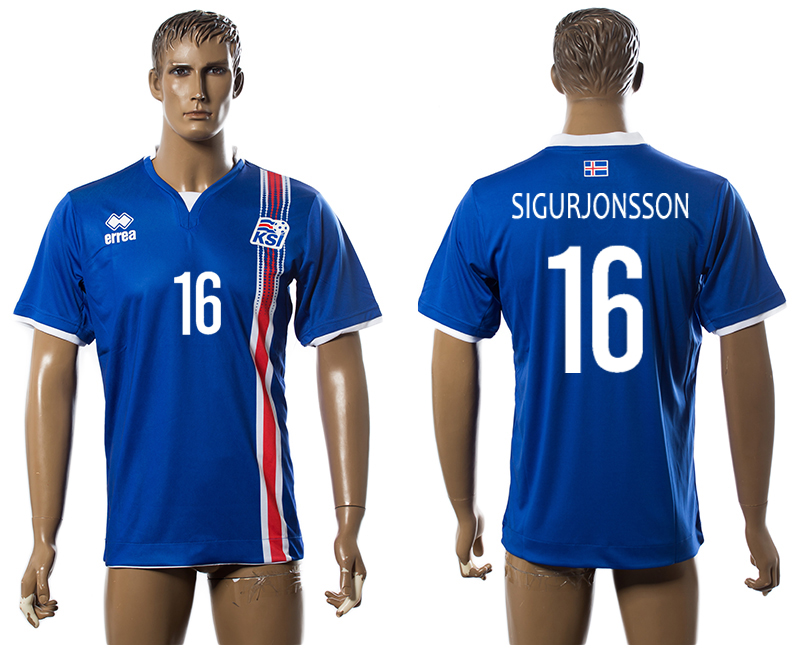 Iceland 16 SIGURJONSSON Home UEFA Euro 2016 Thailand Jersey