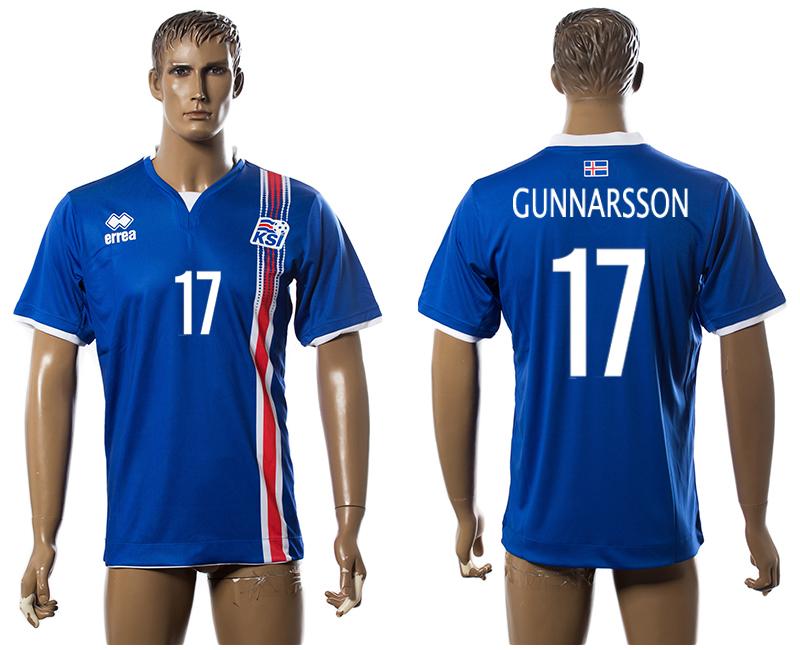 Iceland 17 GUNNARSSON Home UEFA Euro 2016 Thailand Jersey