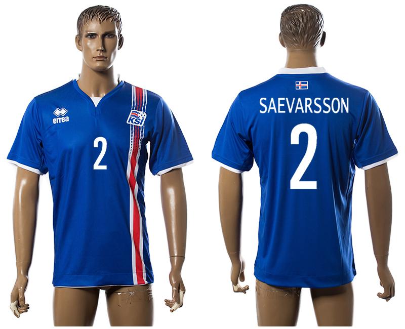 Iceland 2 SAEVARSSON Home UEFA Euro 2016 Thailand Jersey