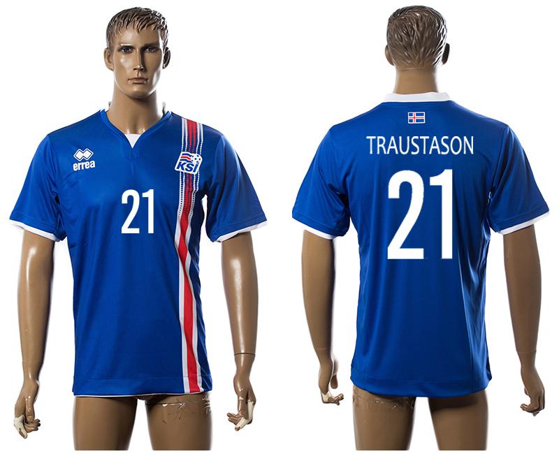 Iceland 21 TRAUSTASON Home UEFA Euro 2016 Thailand Jersey
