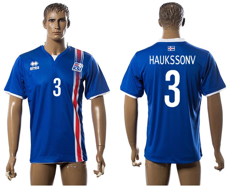 Iceland 3 HAUKSSONV Home UEFA Euro 2016 Thailand Jersey