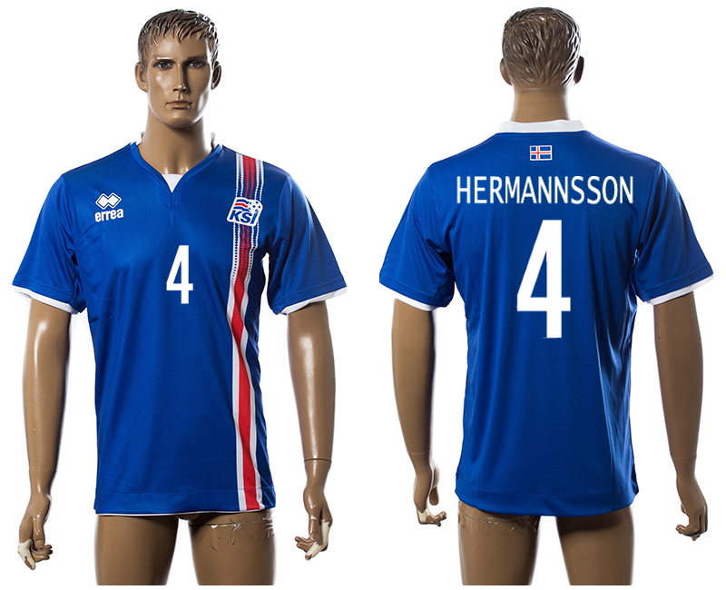Iceland 4 HERMANSSON Home UEFA Euro 2016 Thailand Jersey