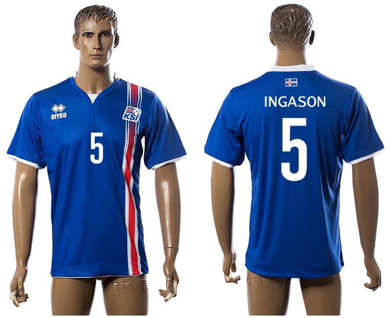 Iceland 5 INGASON Home UEFA Euro 2016 Thailand Jersey