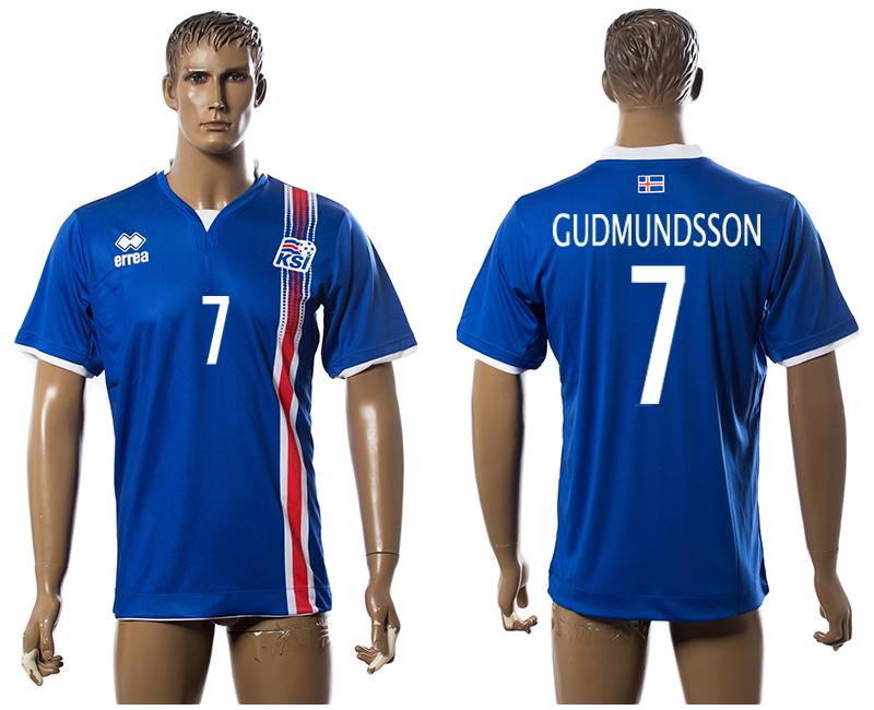 Iceland 7 GUDMUNDSSON Home UEFA Euro 2016 Thailand Jersey