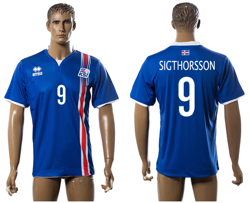 Iceland 9 SIGTHORSSON Home UEFA Euro 2016 Thailand Jersey