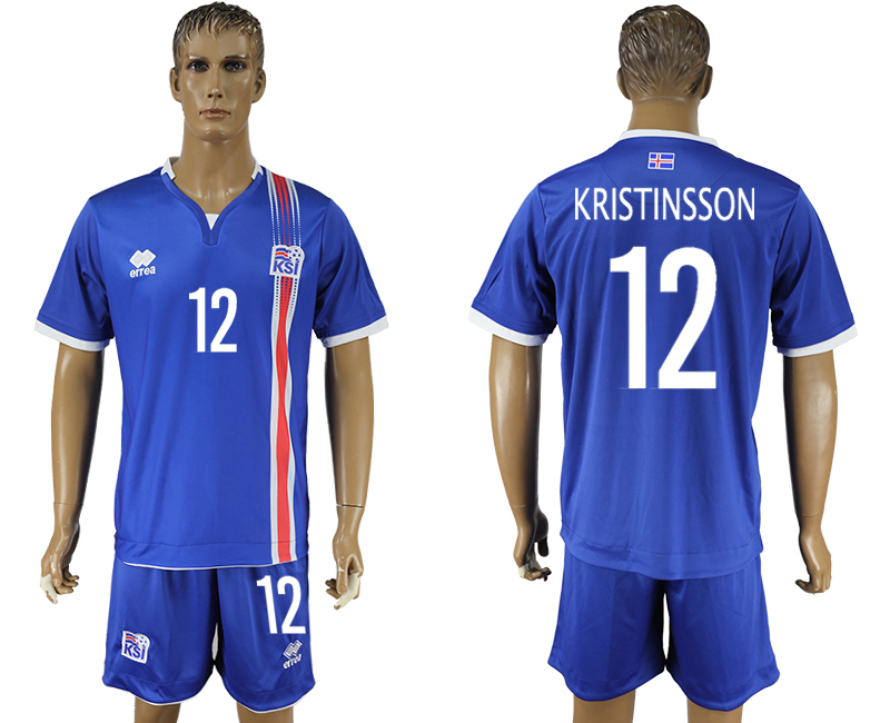 Iceland 12 KRISTINSSON Home UEFA Euro 2016 Soccer Jersey