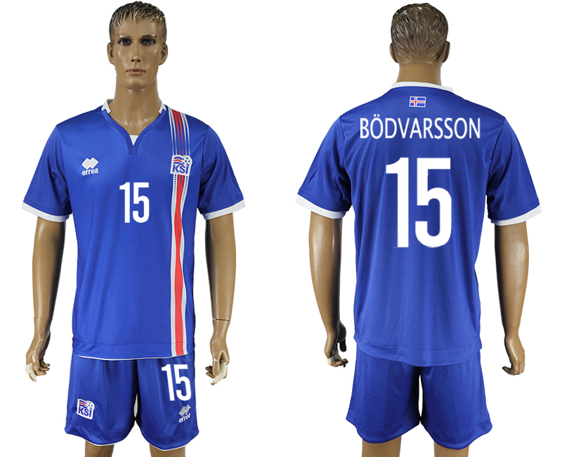 Iceland 15 BODVARSSON Home UEFA Euro 2016 Soccer Jersey