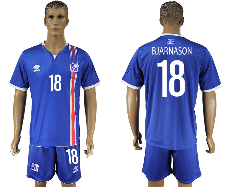 Iceland 18 BJARNASON Home UEFA Euro 2016 Soccer Jersey