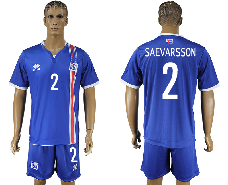 Iceland 2 SAEVARSSON Home UEFA Euro 2016 Soccer Jersey