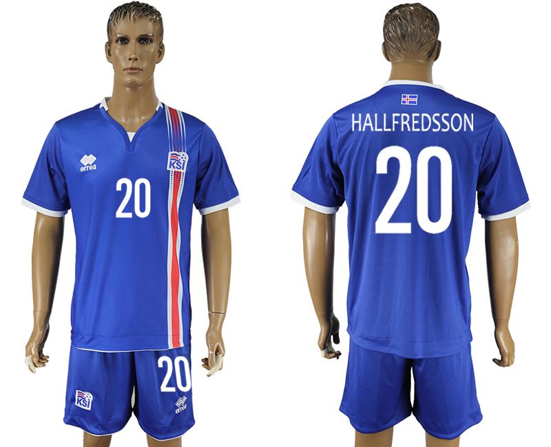 Iceland 20 HALLFREDSSON Home UEFA Euro 2016 Soccer Jersey