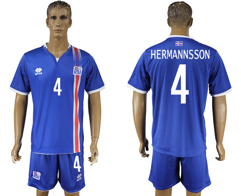 Iceland 4 HERMANSSON Home UEFA Euro 2016 Soccer Jersey