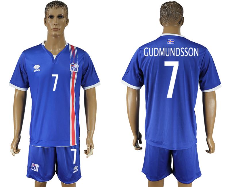 Iceland 7 GUDMUNDSSON Home UEFA Euro 2016 Soccer Jersey
