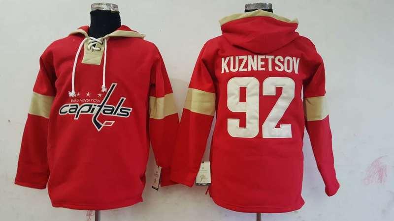Capitals 92 Evgeny Kuznetsov Red All Stitched Hooded Sweatshirt