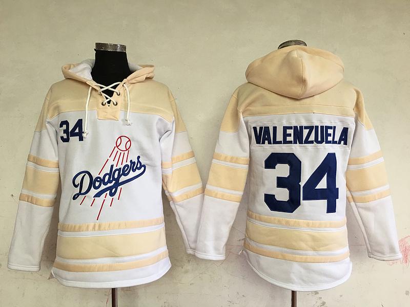 Dodgers 34 Fernando Valenzuela Cream All Stitched Hooded Sweatshirt