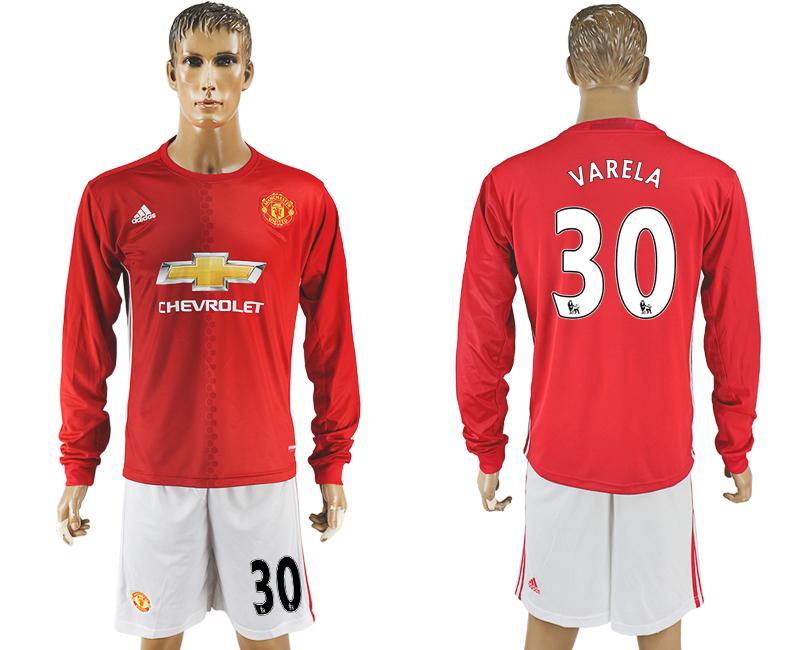 2016-17 Manchester United 30 VARELA Home Long Sleeve Soccer Jersey