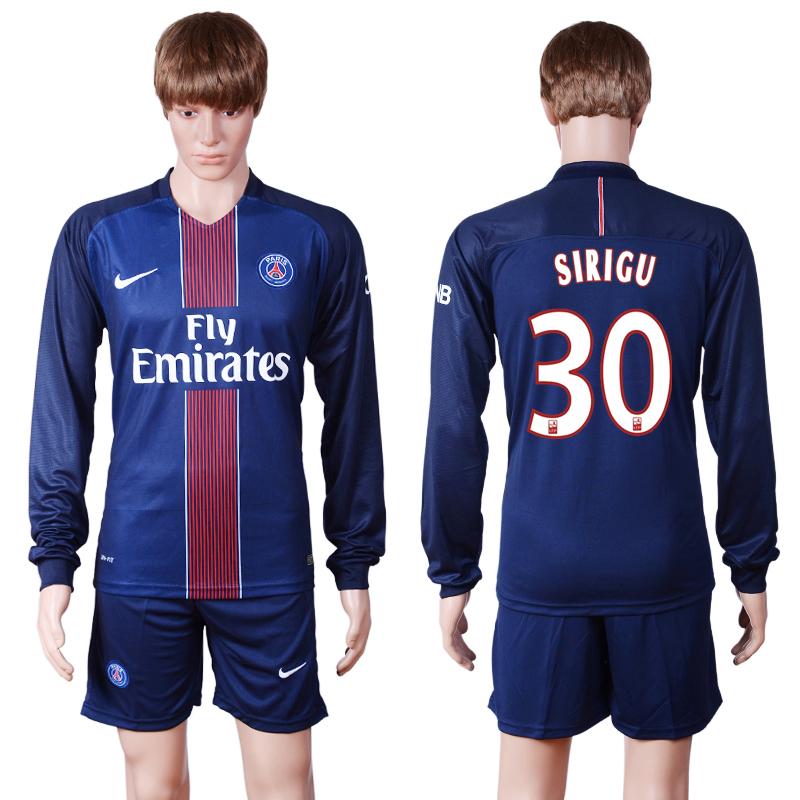 2016-17 Paris Saint-Germain 30 SIRIGU Home Long Sleeve Soccer Jersey