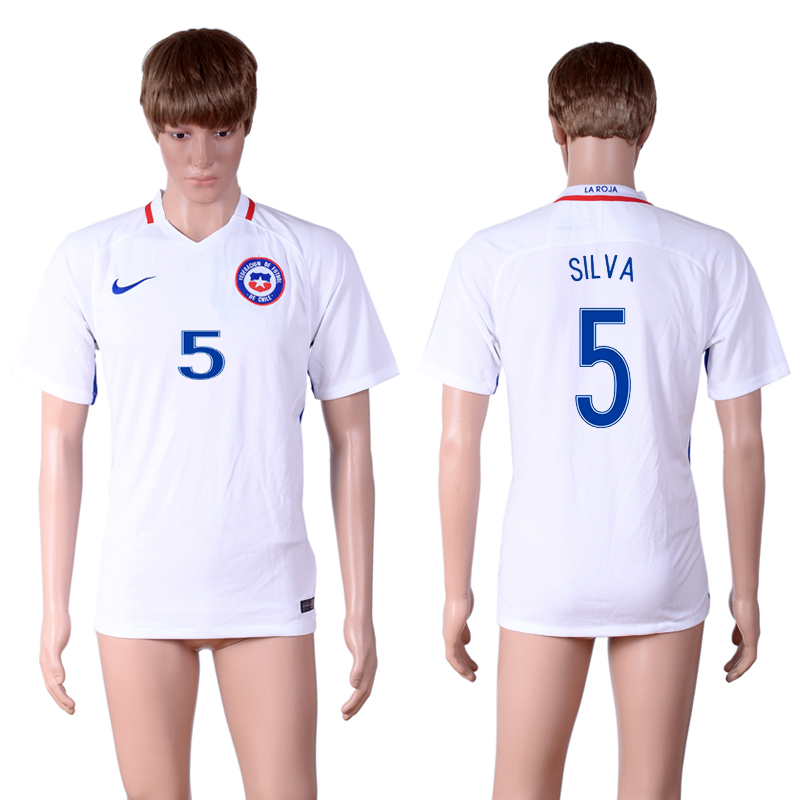 2016-17 Chile 5 SILVA Away Thailand Soccer Jersey