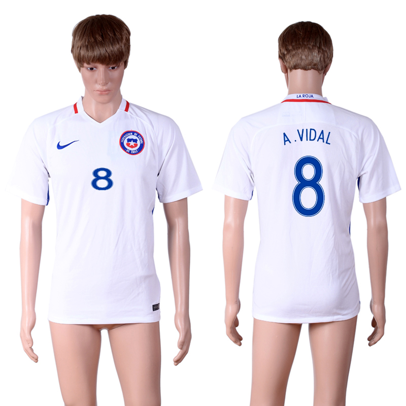 2016-17 Chile 8 A.VIDAL Away Thailand Soccer Jersey