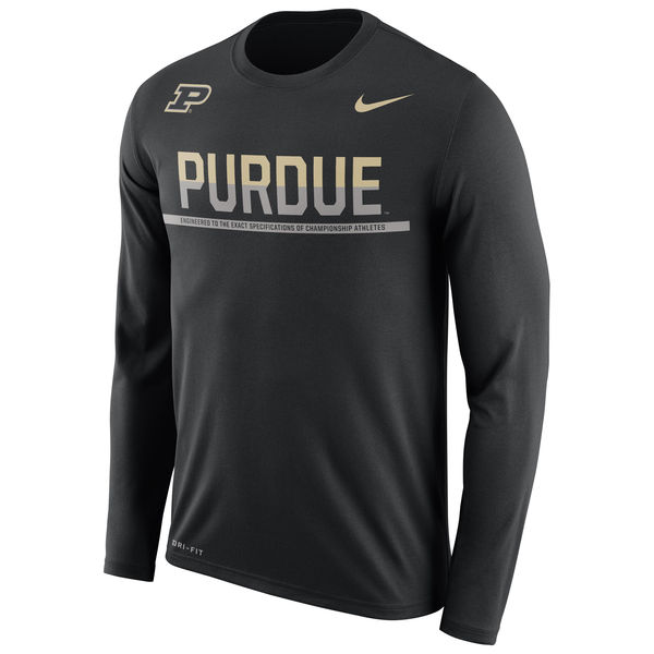 Purdue Boilermakers Nike 2016 Staff Sideline Dri-Fit Legend Long Sleeve T-Shirt Black