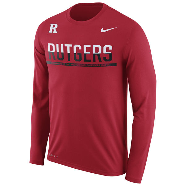 Rutgers Scarlet Knights Nike 2016 Staff Sideline Dri-Fit Legend Long Sleeve T-Shirt Scarlet