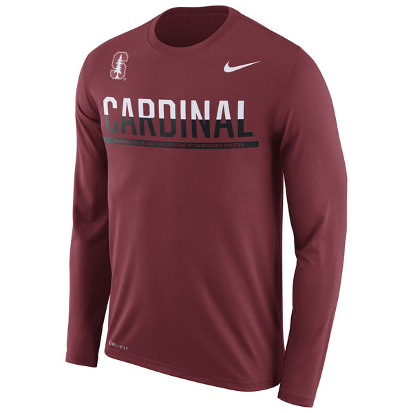Stanford Cardinal Nike 2016 Staff Sideline Dri-Fit Legend Long Sleeve T-Shirt Cardinal