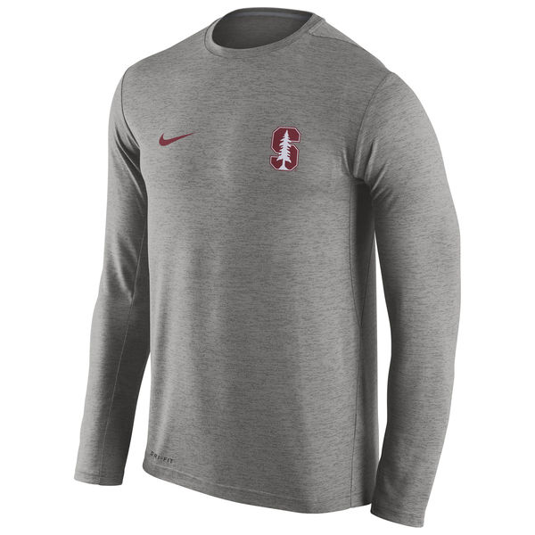 Stanford Cardinal Nike Stadium Dri-Fit Touch Long Sleeve T-Shirt Grey