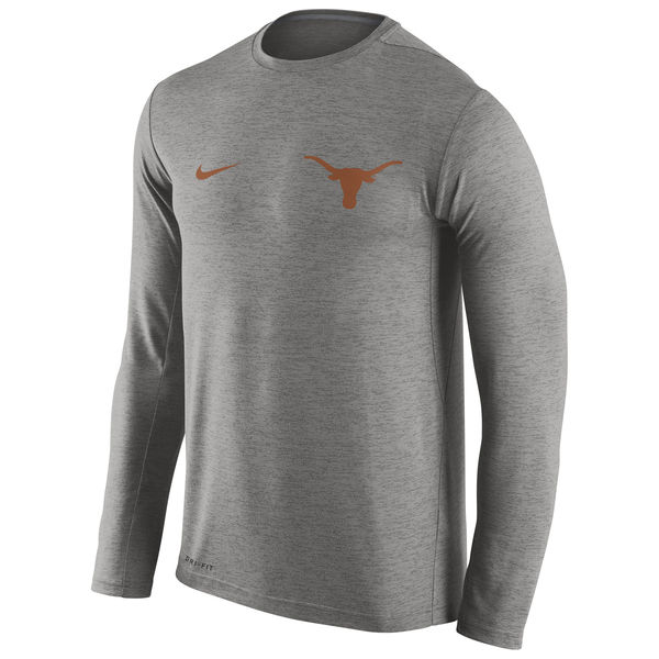 Texas Longhorns Nike Stadium Dri-Fit Touch Long Sleeve T-Shirt Heathered Gray