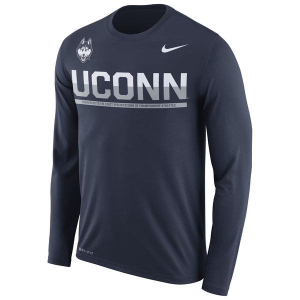 UConn Huskies Nike 2016 Staff Sideline Dri-Fit Legend Long Sleeve T-Shirt Navy