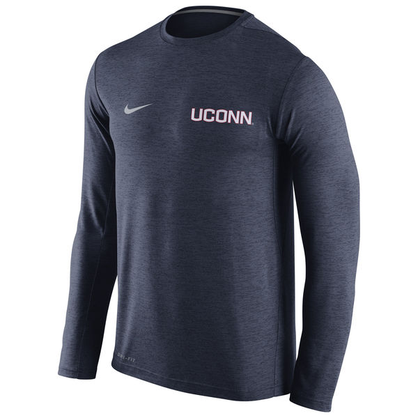 UConn Huskies Nike Stadium Dri-Fit Touch Long Sleeve T-Shirt Navy